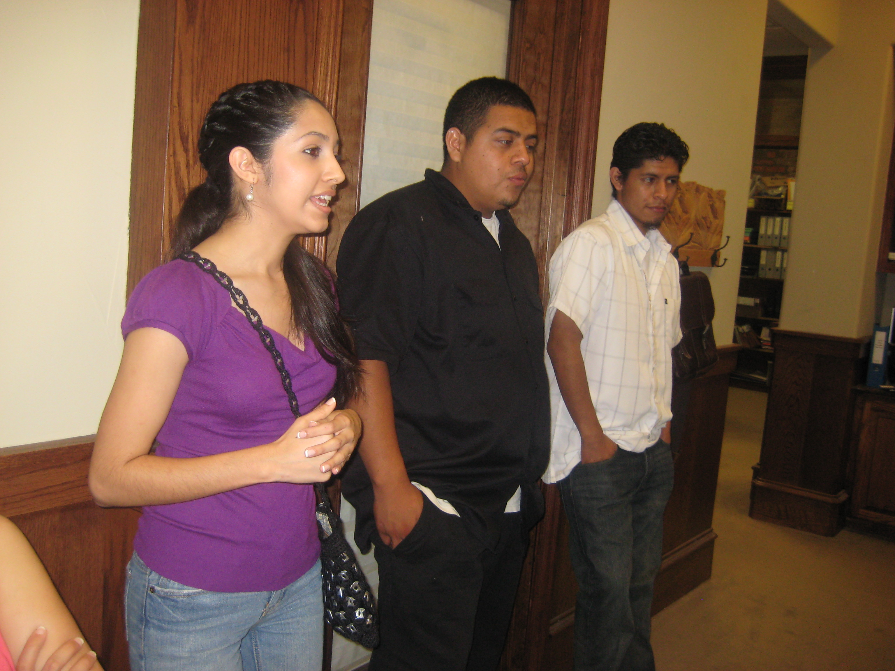 Grecia, Daniel and Luis after the announcement
